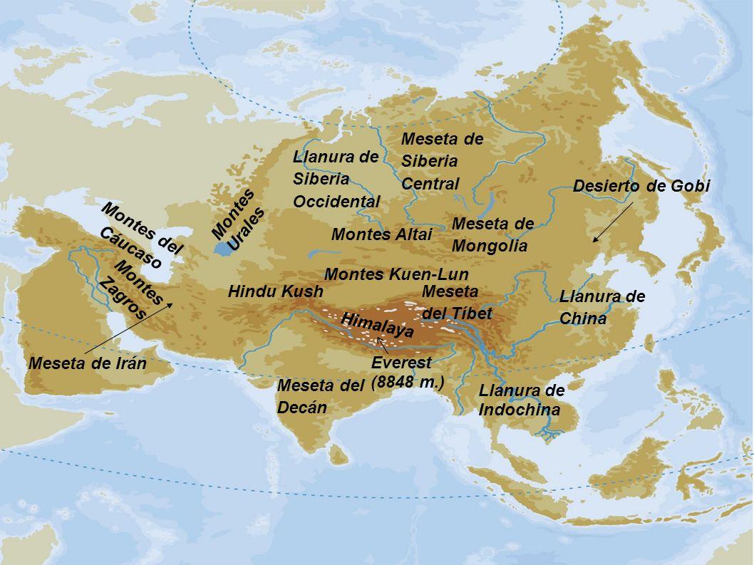 Llanura de Siberia Occidental Meseta del Decán Llanura de Indochina Llanura de China Meseta de Mongolia Meseta del Tíbet Himalaya Hindu Kush Montes Za