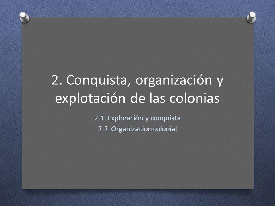 2. Conquista, organización y explotación de las colonias 2.1. Exploración y conquista 2.2. Organización colonial