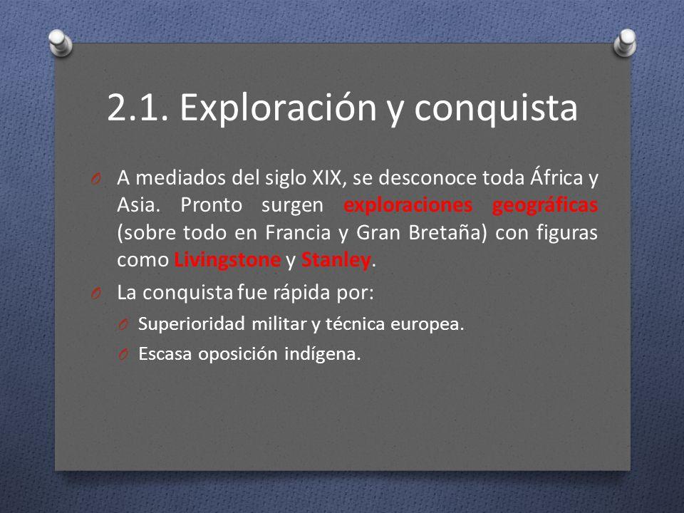 2.1. Exploración y conquista O A mediados del siglo XIX, se desconoce toda África y Asia. Pronto surgen exploraciones geográficas (sobre todo en Franc