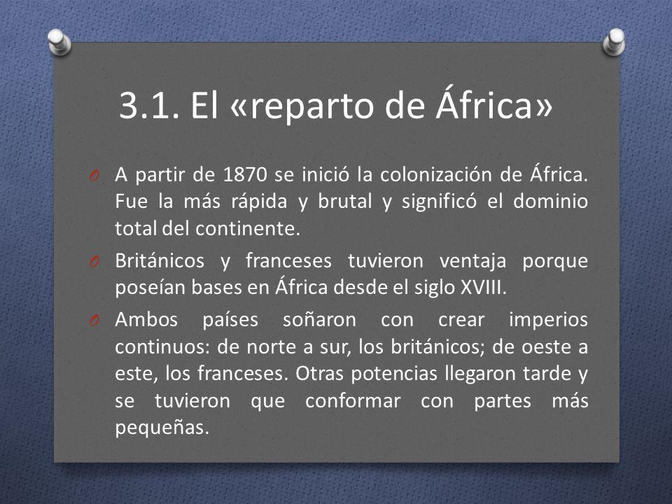 3.1. El «reparto de África» O A partir de 1870 se inició la colonización de África. Fue la más rápida y brutal y significó el dominio total del contin