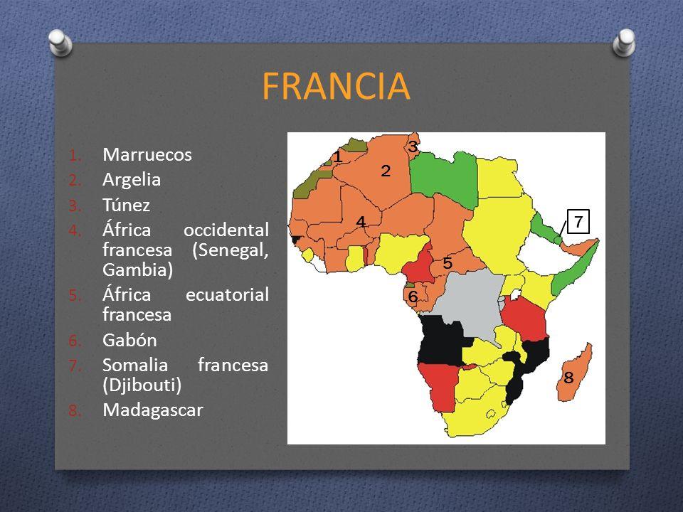 FRANCIA 1. Marruecos 2. Argelia 3. Túnez 4. África occidental francesa (Senegal, Gambia) 5. África ecuatorial francesa 6. Gabón 7. Somalia francesa (D