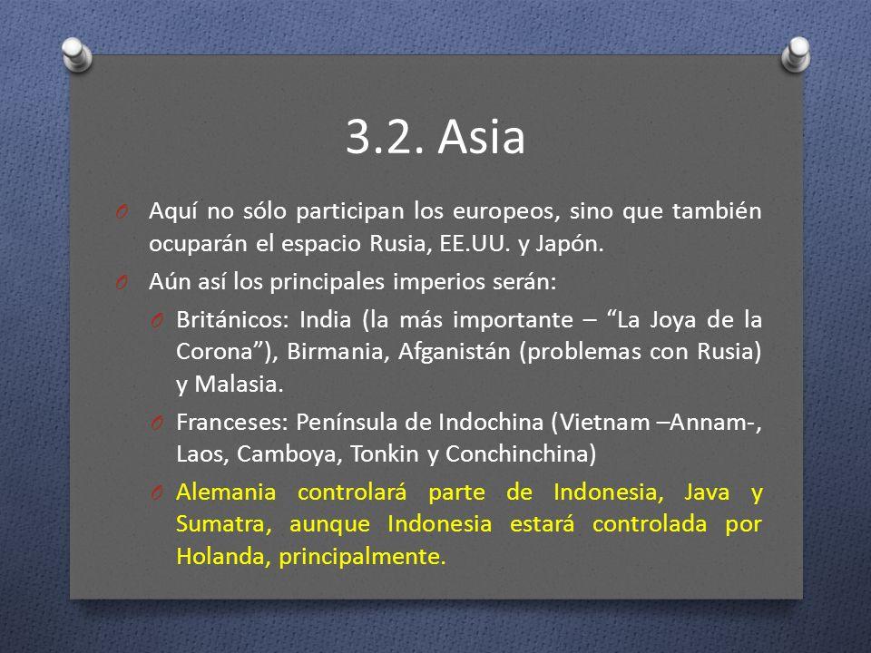 3.2. Asia O Aquí no sólo participan los europeos, sino que también ocuparán el espacio Rusia, EE.UU. y Japón. O Aún así los principales imperios serán
