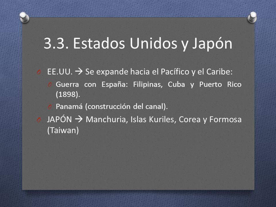 3.3. Estados Unidos y Japón O EE.UU. Se expande hacia el Pacífico y el Caribe: O Guerra con España: Filipinas, Cuba y Puerto Rico (1898). O Panamá (co