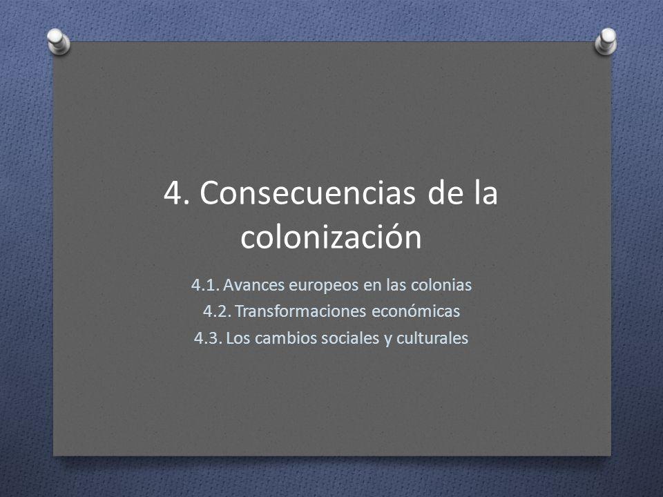 4. Consecuencias de la colonización 4.1. Avances europeos en las colonias 4.2. Transformaciones económicas 4.3. Los cambios sociales y culturales