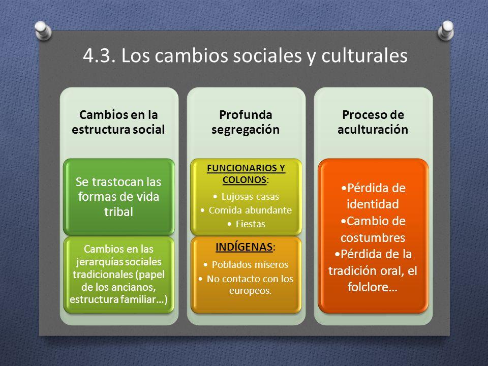 4.3. Los cambios sociales y culturales Cambios en la estructura social Se trastocan las formas de vida tribal Cambios en las jerarquías sociales tradi