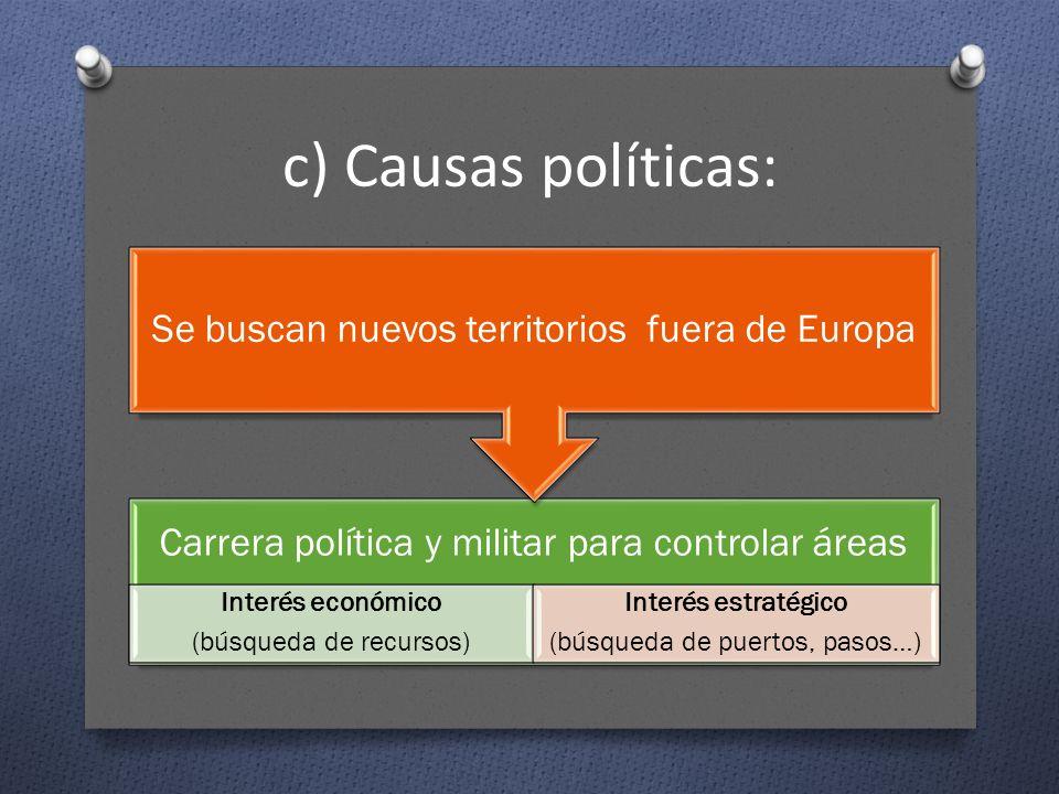 c) Causas políticas: Carrera política y militar para controlar áreas Interés económico (búsqueda de recursos) Interés estratégico (búsqueda de puertos