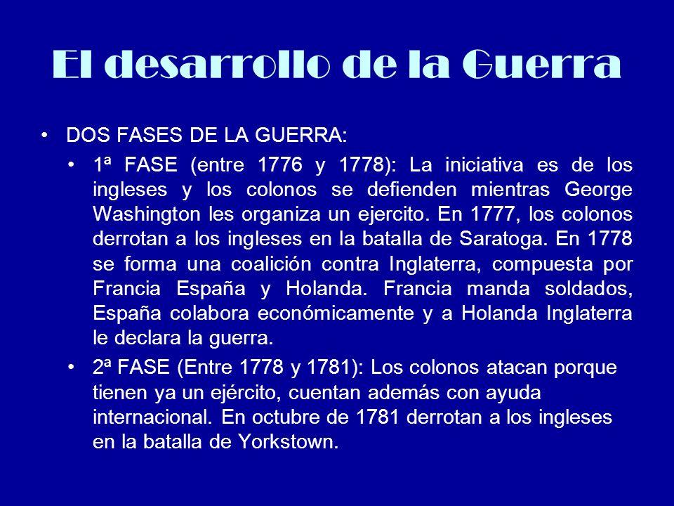 El desarrollo de la Guerra DOS FASES DE LA GUERRA: 1ª FASE (entre 1776 y 1778): La iniciativa es de los ingleses y los colonos se defienden mientras G