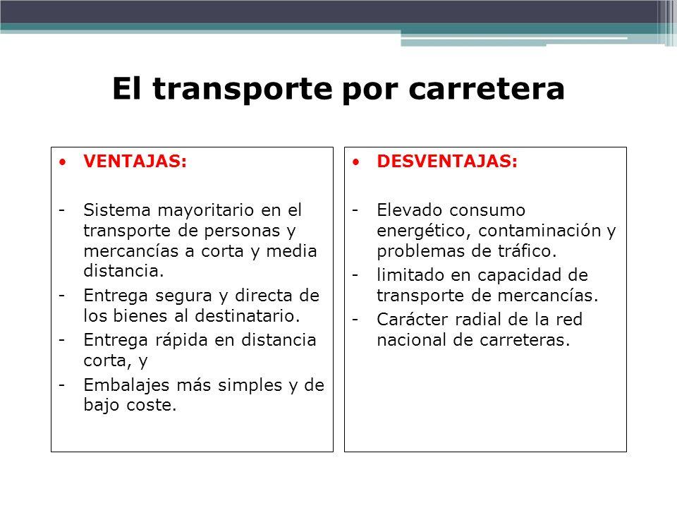 El transporte por carretera VENTAJAS: -Sistema mayoritario en el transporte de personas y mercancías a corta y media distancia. -Entrega segura y dire