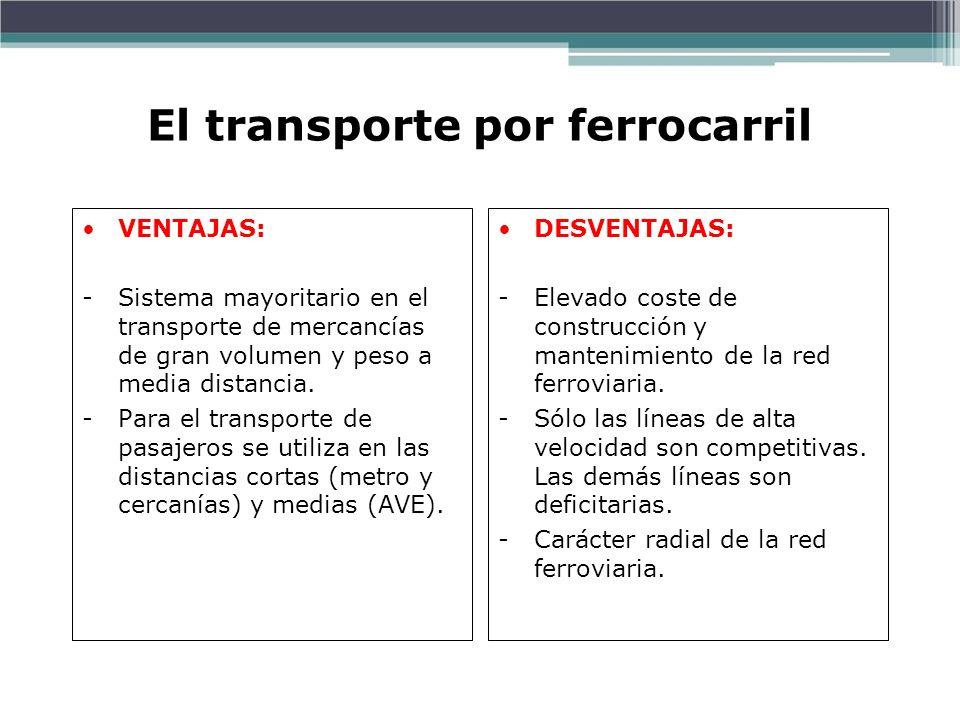 El transporte por ferrocarril VENTAJAS: -Sistema mayoritario en el transporte de mercancías de gran volumen y peso a media distancia. -Para el transpo