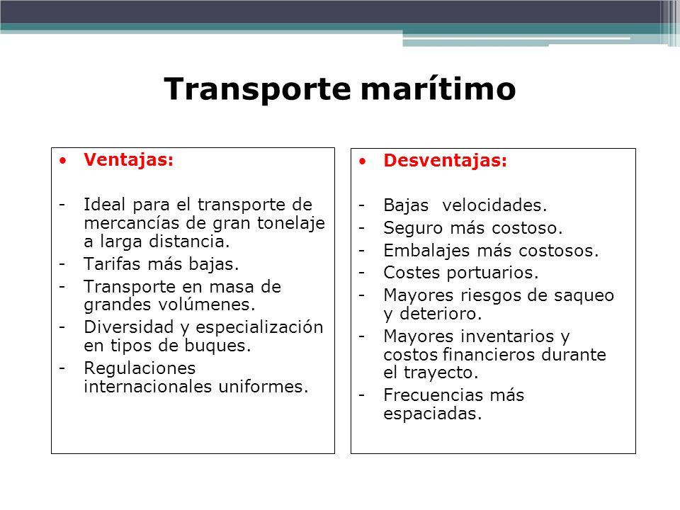 Transporte marítimo Ventajas: -Ideal para el transporte de mercancías de gran tonelaje a larga distancia. -Tarifas más bajas. -Transporte en masa de g