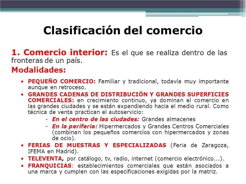 Clasificación del comercio Prof. ISAAC BUZO SÁNCHEZ 1. Comercio interior: Es el que se realiza dentro de las fronteras de un país. Modalidades: PEQUEÑ