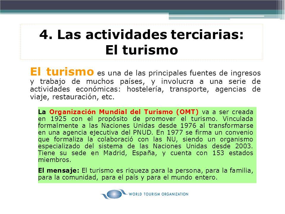 4. Las actividades terciarias: El turismo El turismo es una de las principales fuentes de ingresos y trabajo de muchos países, y involucra a una serie
