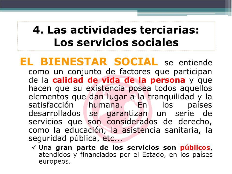 4. Las actividades terciarias: Los servicios sociales EL BIENESTAR SOCIAL se entiende como un conjunto de factores que participan de la calidad de vid