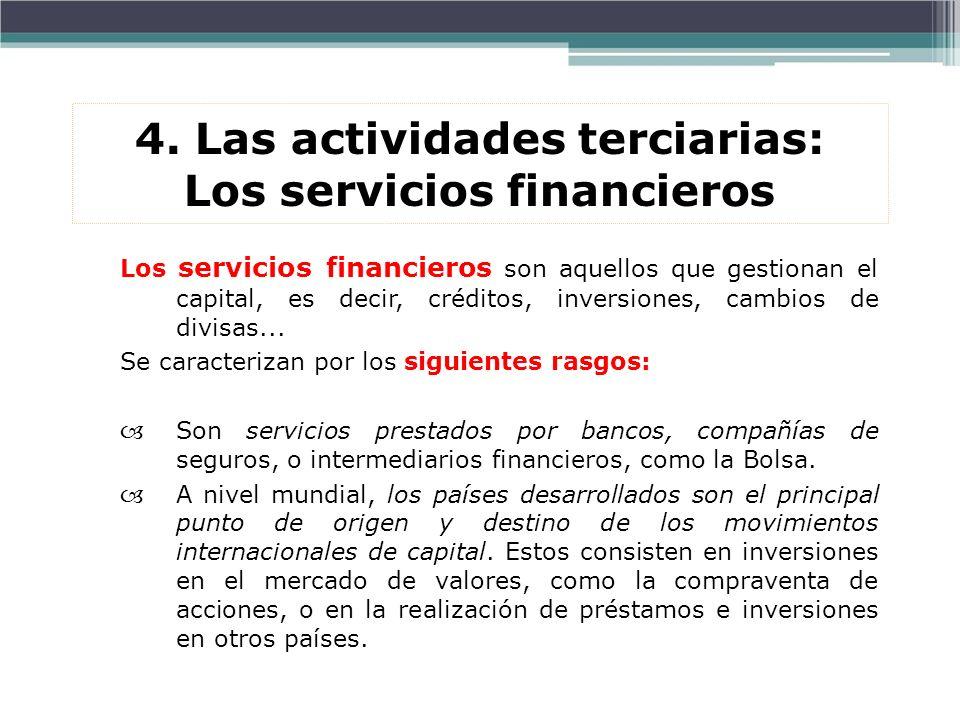 4. Las actividades terciarias: Los servicios financieros Los servicios financieros son aquellos que gestionan el capital, es decir, créditos, inversio