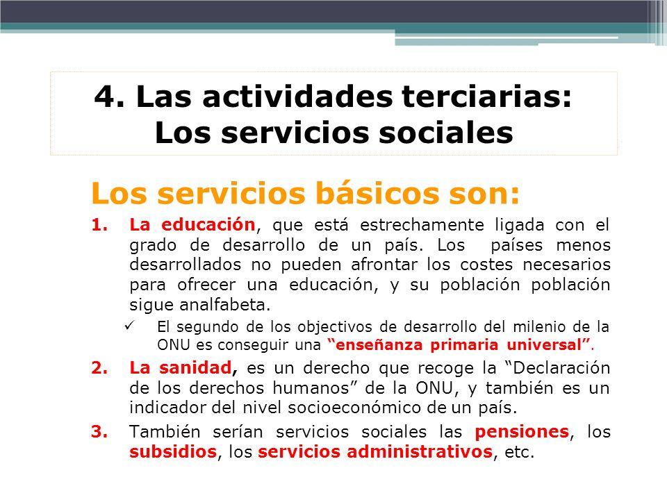 4. Las actividades terciarias: Los servicios sociales Los servicios básicos son: 1.La educación, que está estrechamente ligada con el grado de desarro