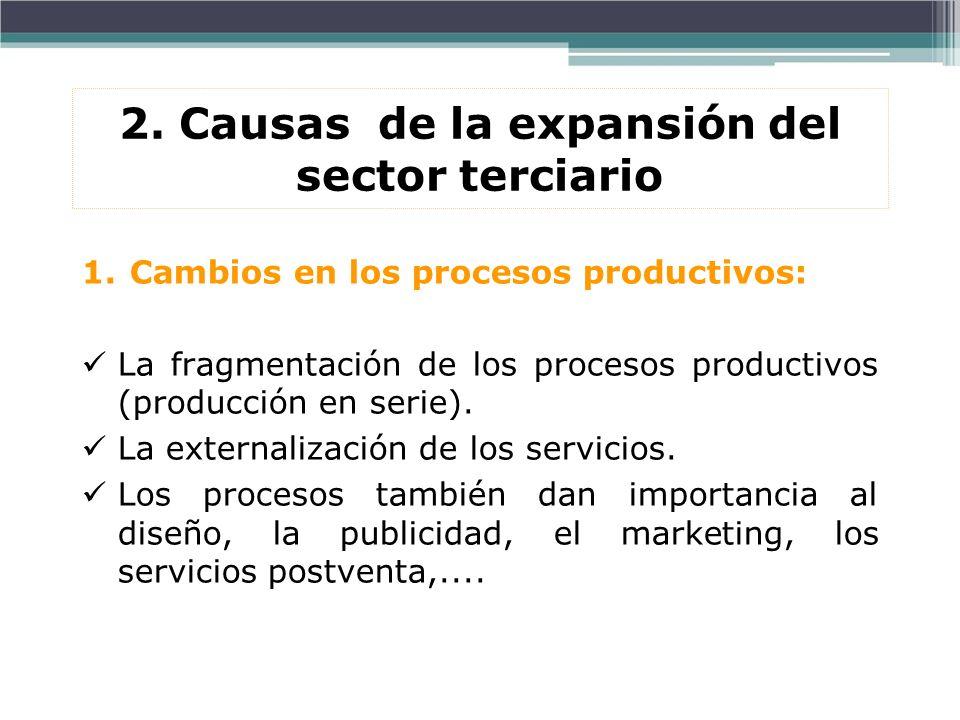 2. Causas de la expansión del sector terciario 1.Cambios en los procesos productivos: La fragmentación de los procesos productivos (producción en seri