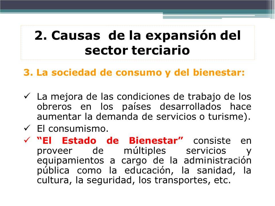 2. Causas de la expansión del sector terciario 3. La sociedad de consumo y del bienestar: La mejora de las condiciones de trabajo de los obreros en lo