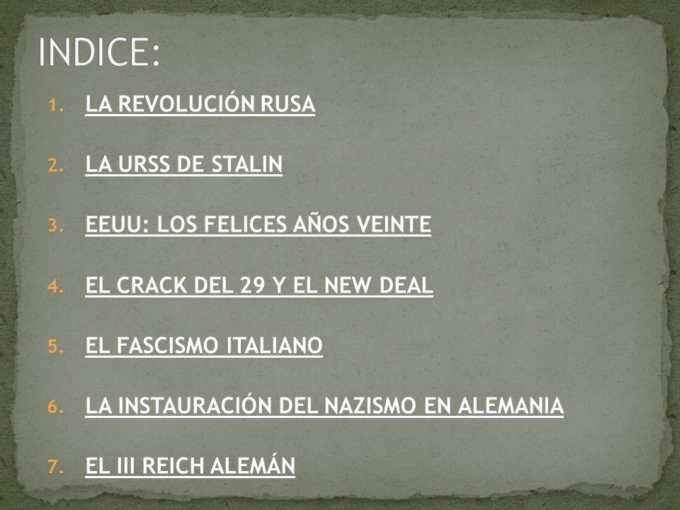 1. LA REVOLUCIÓN RUSA 2. LA URSS DE STALIN 3. EEUU: LOS FELICES AÑOS VEINTE 4. EL CRACK DEL 29 Y EL NEW DEAL 5. EL FASCISMO ITALIANO 6. LA INSTAURACIÓ