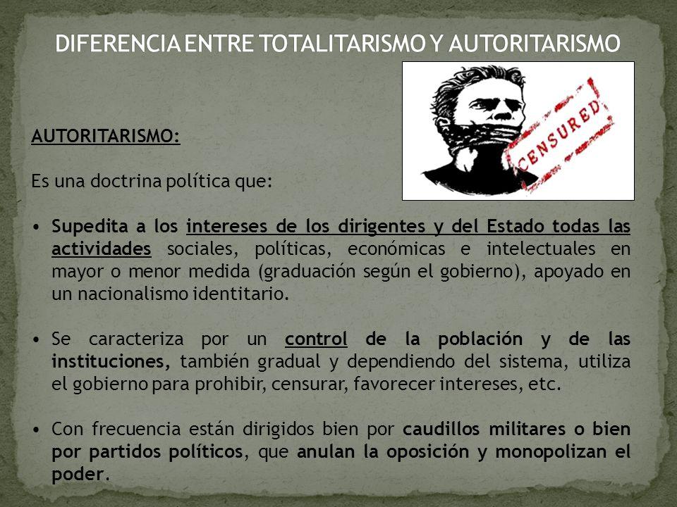 AUTORITARISMO: Es una doctrina política que: Supedita a los intereses de los dirigentes y del Estado todas las actividades sociales, políticas, económ