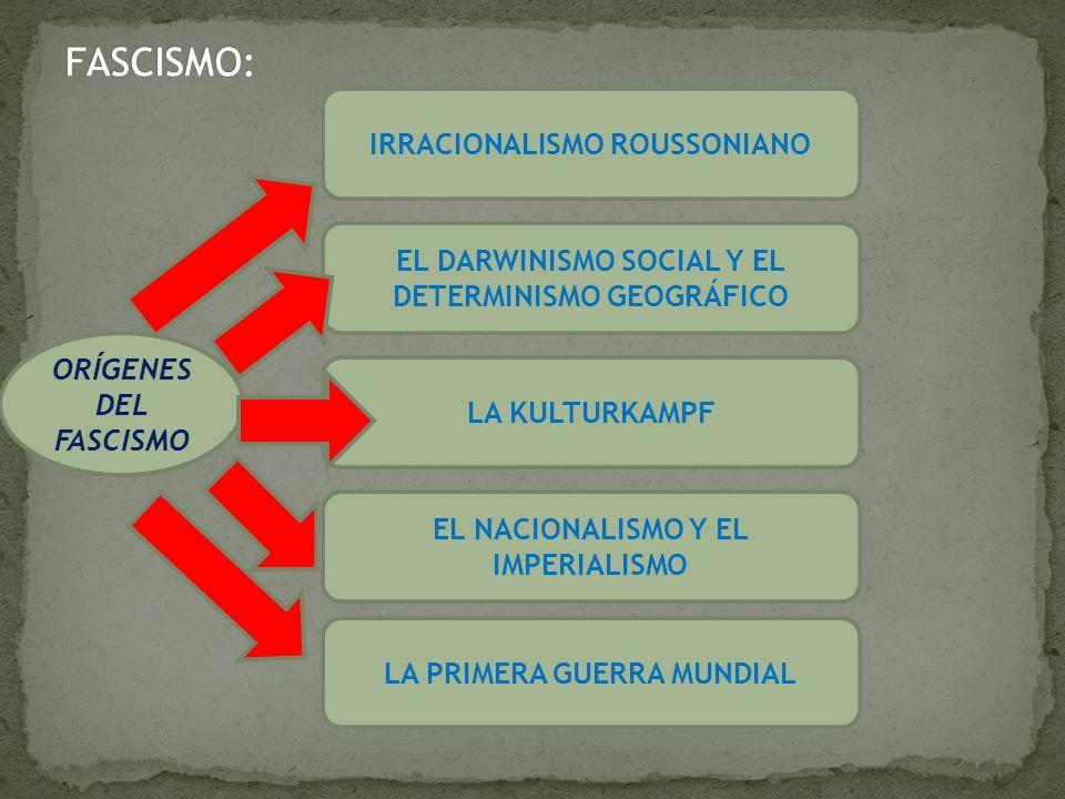 ORÍGENES DEL FASCISMO IRRACIONALISMO ROUSSONIANO EL DARWINISMO SOCIAL Y EL DETERMINISMO GEOGRÁFICO EL NACIONALISMO Y EL IMPERIALISMO LA KULTURKAMPF LA