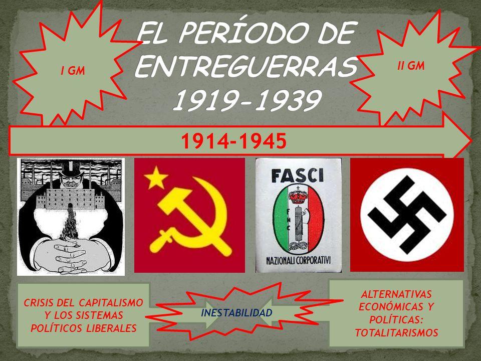 I GM II GM 1914-1945 CRISIS DEL CAPITALISMO Y LOS SISTEMAS POLÍTICOS LIBERALES ALTERNATIVAS ECONÓMICAS Y POLÍTICAS: TOTALITARISMOS INESTABILIDAD
