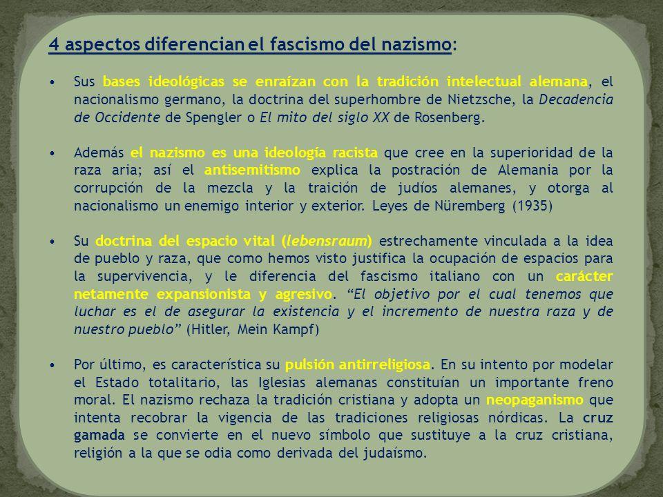 4 aspectos diferencian el fascismo del nazismo: Sus bases ideológicas se enraízan con la tradición intelectual alemana, el nacionalismo germano, la do