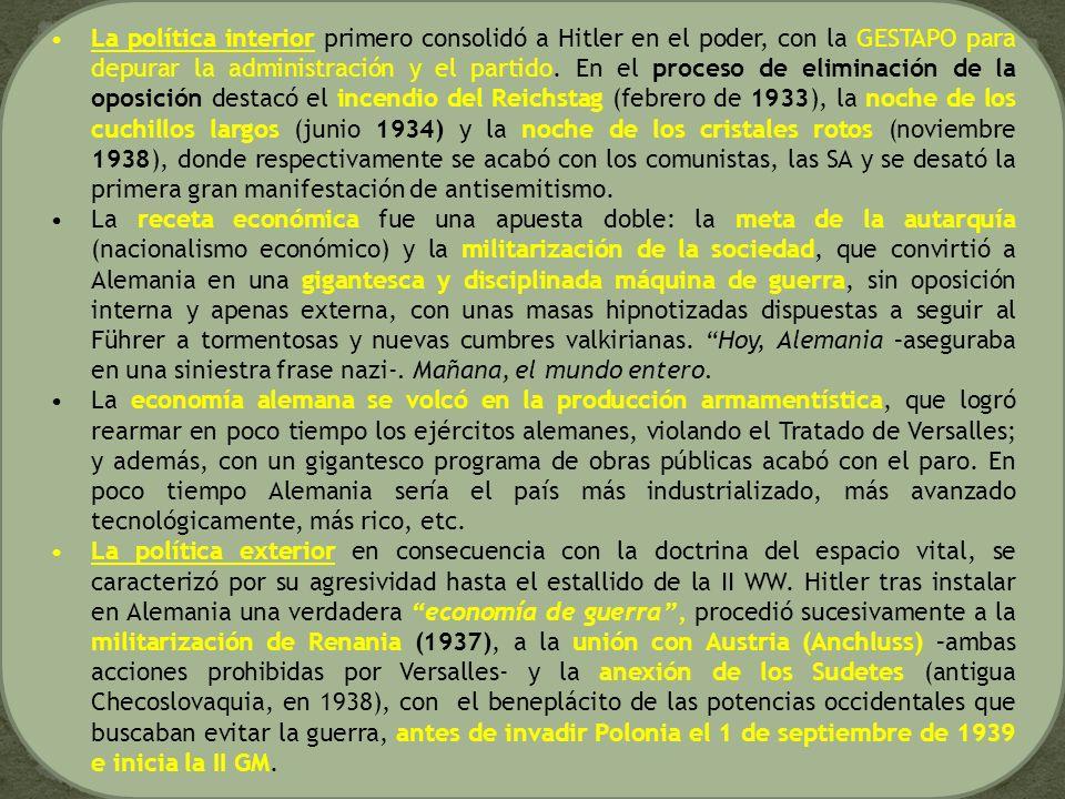 La política interior primero consolidó a Hitler en el poder, con la GESTAPO para depurar la administración y el partido. En el proceso de eliminación