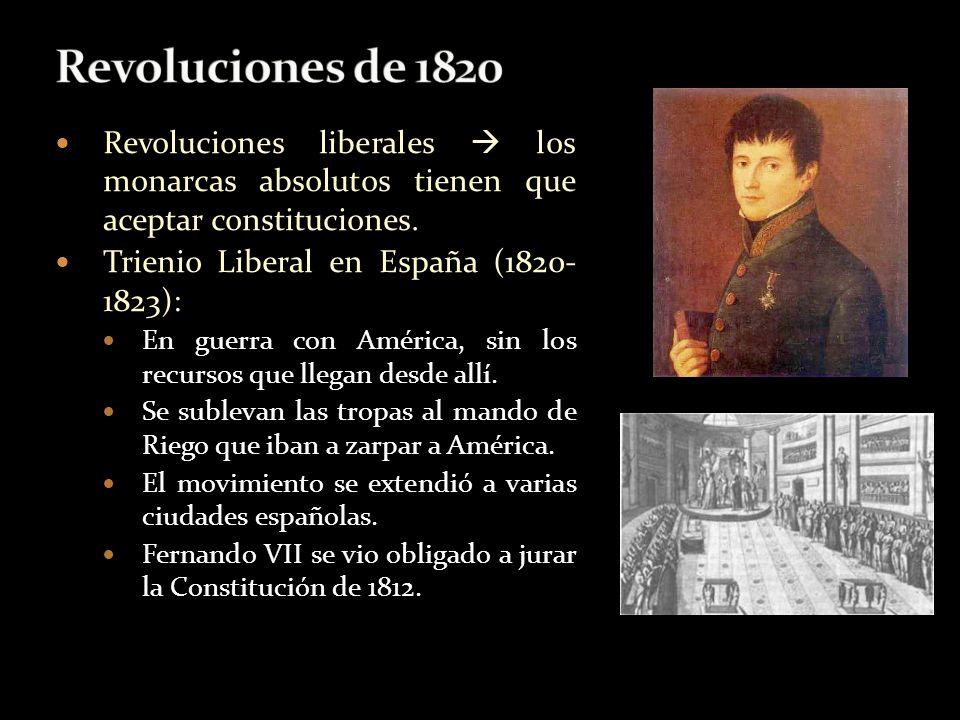 Revoluciones liberales los monarcas absolutos tienen que aceptar constituciones. Trienio Liberal en España (1820- 1823): En guerra con América, sin lo