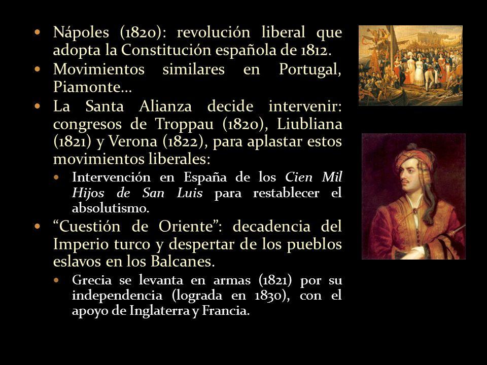 Nápoles (1820): revolución liberal que adopta la Constitución española de 1812. Movimientos similares en Portugal, Piamonte… La Santa Alianza decide i