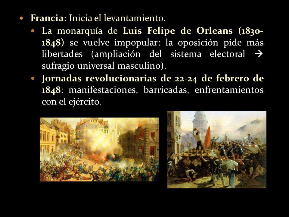 Francia: Inicia el levantamiento. La monarquía de Luis Felipe de Orleans (1830- 1848) se vuelve impopular: la oposición pide más libertades (ampliació