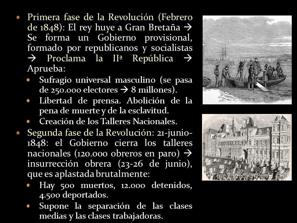 Primera fase de la Revolución (Febrero de 1848): El rey huye a Gran Bretaña Se forma un Gobierno provisional, formado por republicanos y socialistas P