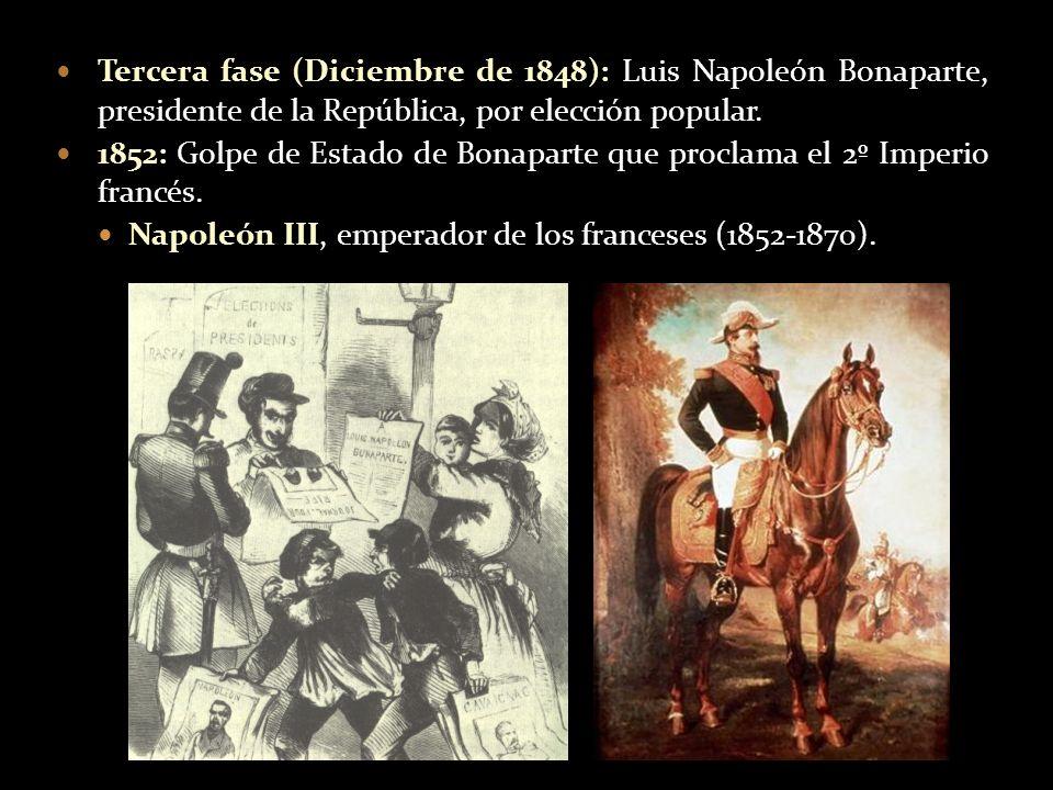 Tercera fase (Diciembre de 1848): Luis Napoleón Bonaparte, presidente de la República, por elección popular. 1852: Golpe de Estado de Bonaparte que pr