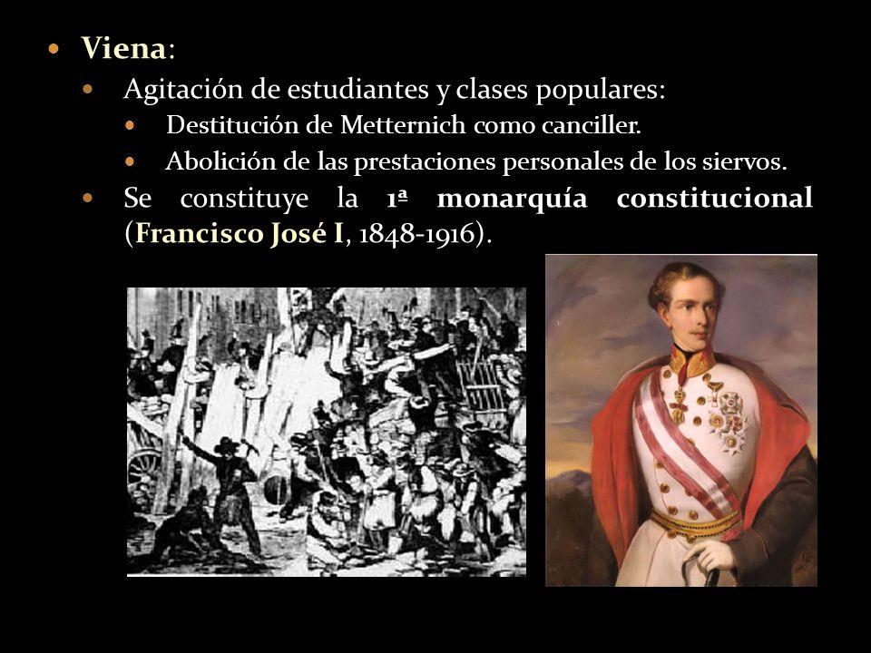 Viena: Agitación de estudiantes y clases populares: Destitución de Metternich como canciller. Abolición de las prestaciones personales de los siervos.