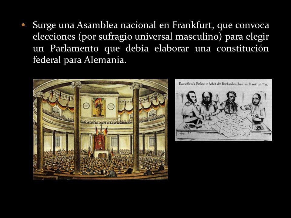 Surge una Asamblea nacional en Frankfurt, que convoca elecciones (por sufragio universal masculino) para elegir un Parlamento que debía elaborar una c