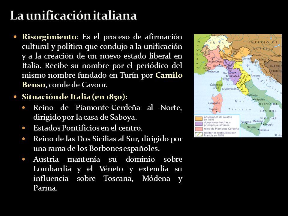 Risorgimiento: Es el proceso de afirmación cultural y política que condujo a la unificación y a la creación de un nuevo estado liberal en Italia. Reci