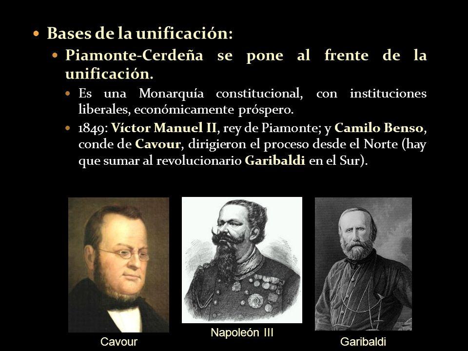 Bases de la unificación: Piamonte-Cerdeña se pone al frente de la unificación. Es una Monarquía constitucional, con instituciones liberales, económica