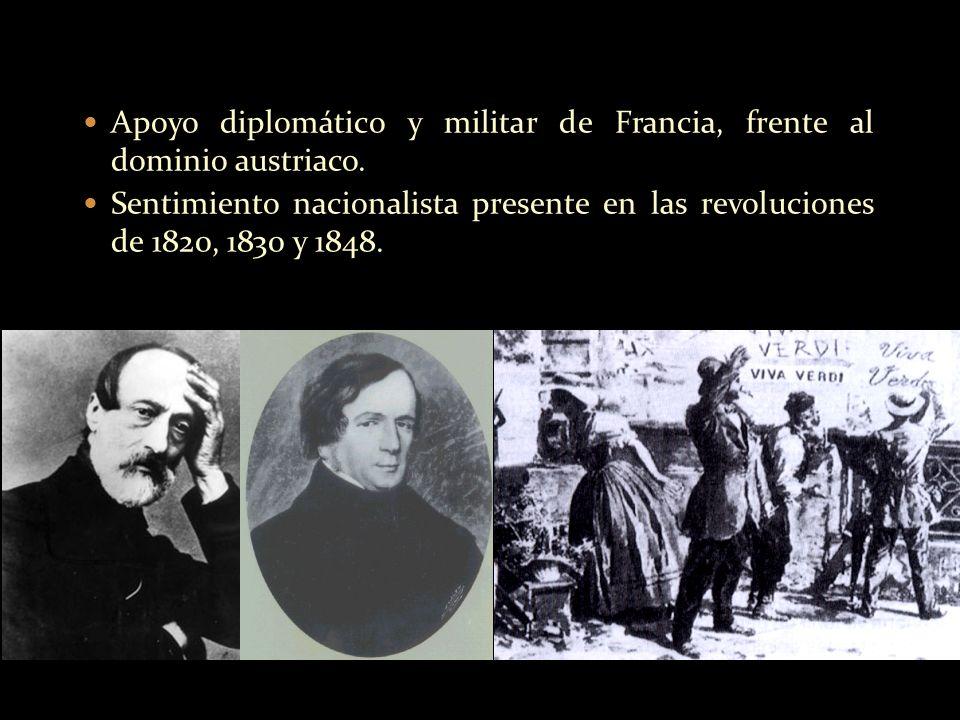 Apoyo diplomático y militar de Francia, frente al dominio austriaco. Sentimiento nacionalista presente en las revoluciones de 1820, 1830 y 1848.