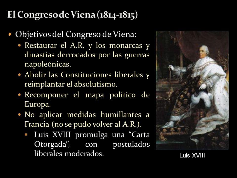 Objetivos del Congreso de Viena: Restaurar el A.R. y los monarcas y dinastías derrocados por las guerras napoleónicas. Abolir las Constituciones liber