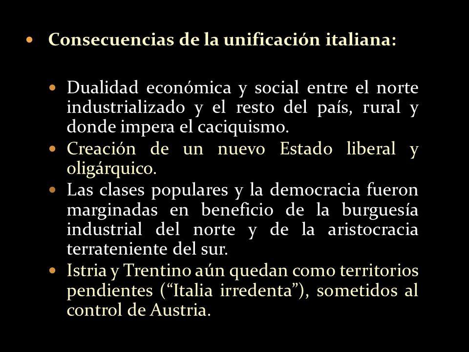 Consecuencias de la unificación italiana: Dualidad económica y social entre el norte industrializado y el resto del país, rural y donde impera el caci