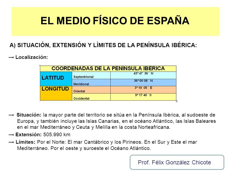 EL MEDIO FÍSICO DE ESPAÑA A) SITUACIÓN, EXTENSIÓN Y LÍMITES DE LA PENÍNSULA IBÉRICA: Localización : Situación: la mayor parte del territorio se sitúa