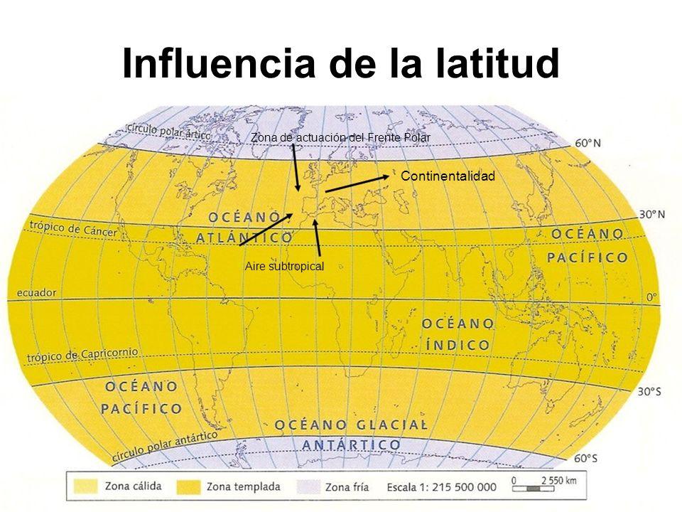 Influencia de la latitud Zona de actuación del Frente Polar Continentalidad Aire subtropical