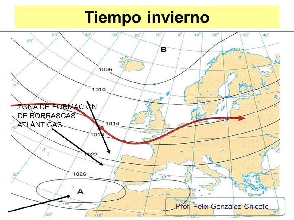 Tiempo invierno ZONA DE FORMACIÓN DE BORRASCAS ATLÁNTICAS Prof. Félix González Chicote