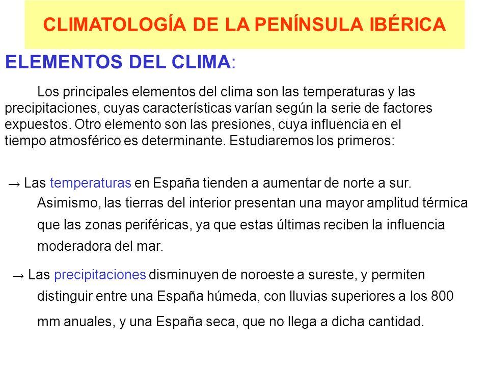 CLIMATOLOGÍA DE LA PENÍNSULA IBÉRICA ELEMENTOS DEL CLIMA: Los principales elementos del clima son las temperaturas y las precipitaciones, cuyas caract