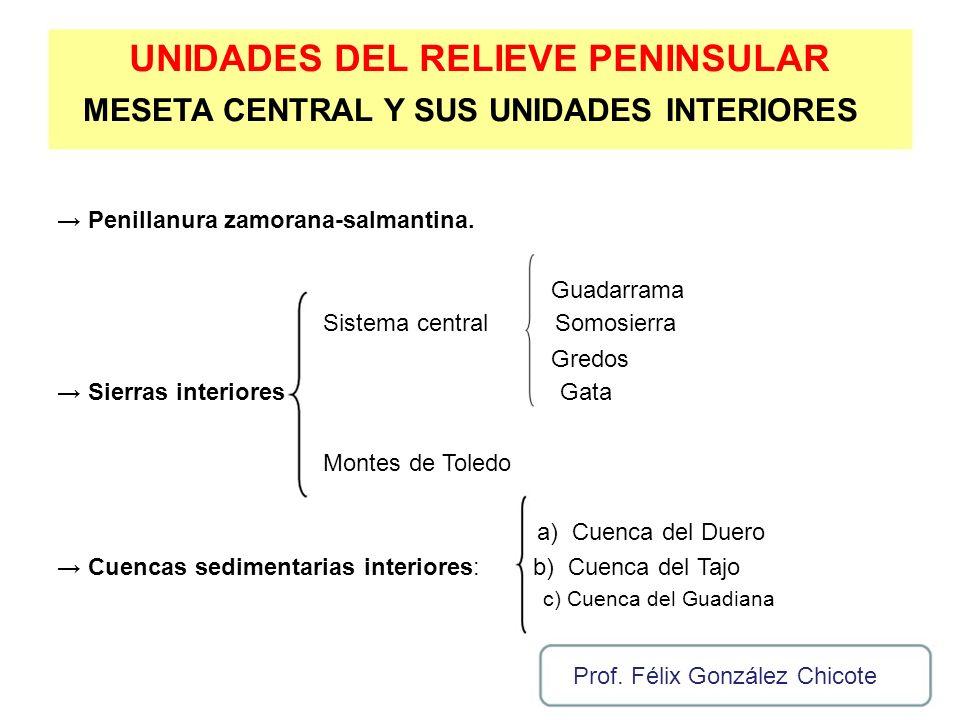 UNIDADES DEL RELIEVE PENINSULAR MESETA CENTRAL Y SUS UNIDADES INTERIORES Penillanura zamorana-salmantina. Guadarrama Sistema centralSomosierra Gredos