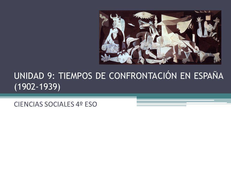UNIDAD 9: TIEMPOS DE CONFRONTACIÓN EN ESPAÑA (1902-1939) CIENCIAS SOCIALES 4º ESO