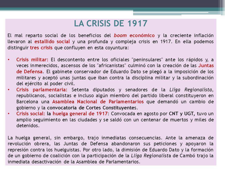 LA CRISIS DE 1917 El mal reparto social de los beneficios del boom económico y la creciente inflación llevaron al estallido social y una profunda y co