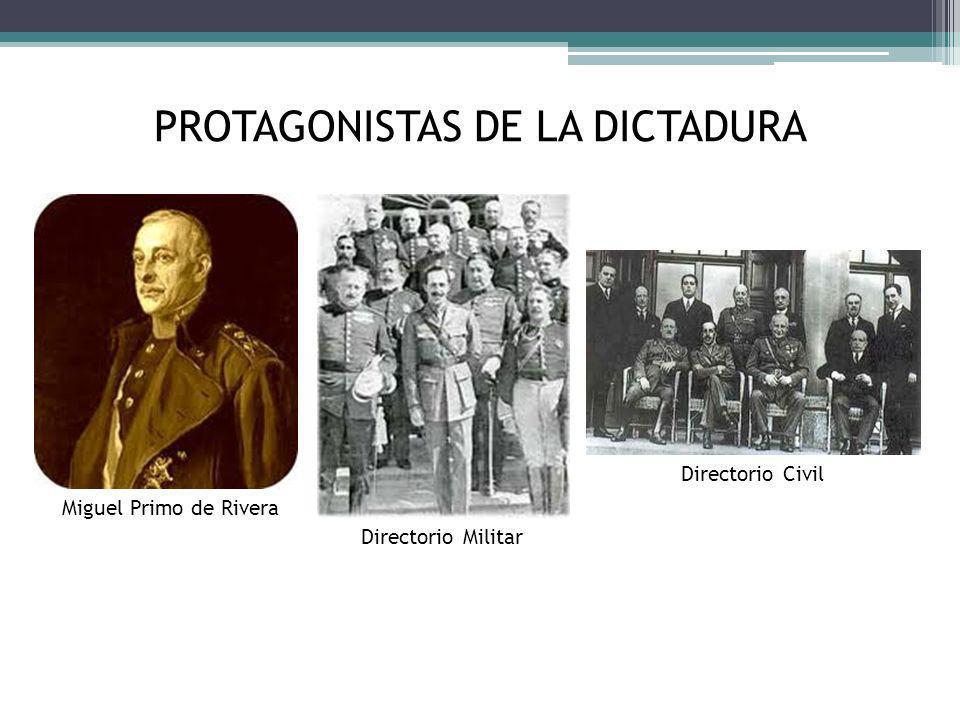 PROTAGONISTAS DE LA DICTADURA Miguel Primo de Rivera Directorio Civil Directorio Militar