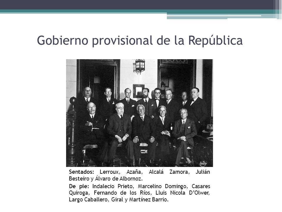 Gobierno provisional de la República Sentados: Lerroux, Azaña, Alcalá Zamora, Julián Besteiro y Álvaro de Albornoz. De pie: Indalecio Prieto, Marcelin