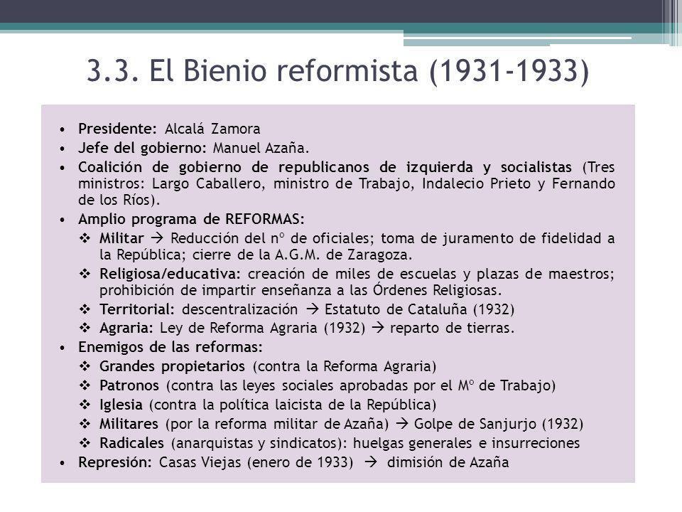 3.3. El Bienio reformista (1931-1933) Presidente: Alcalá Zamora Jefe del gobierno: Manuel Azaña. Coalición de gobierno de republicanos de izquierda y