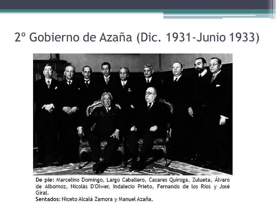 2º Gobierno de Azaña (Dic. 1931-Junio 1933) De pie: Marcelino Domingo, Largo Caballero, Casares Quiroga, Zulueta, Álvaro de Albornoz, Nicolás D'Olwer,